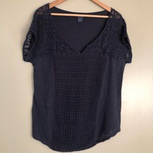 Lucky Brand blue  lace patchwork top